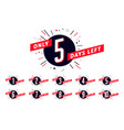 number of days left sign promotional banner vector image