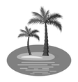 Palm trees on island icon gray monochrome style vector image vector image