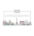 paris landmark panorama in linear style vector image vector image