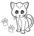 paw print with cat Coloring Page vector image vector image