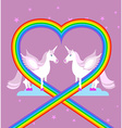 Pink unicorn on purple sky Heart of rainbow LGBT vector image