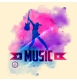 Rock star with guitar for musical background vector image vector image