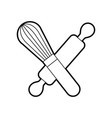 rolling pin and hand mixer tool kitchen cook vector image