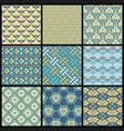 selection nine oriental retro patterns vector image