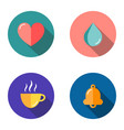 Set 4 flat icons - heart drop cup bell
