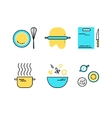 set flat line cooking icons vector image vector image