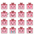 set of cute kawaii emoji vector image vector image