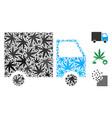 shipment van mosaic of marijuana vector image vector image