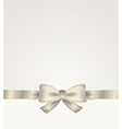 silver ribbon with bow vector image vector image