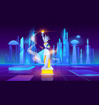 statue liberty neon city futuristic background vector image