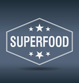 superfood hexagonal white vintage retro style vector image vector image