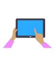 tablet gadget in womans hands vector image vector image