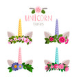 unicorn tiaras with colored flowers collection vector image