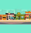 urban street landscape with small shop restaurant vector image vector image