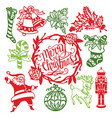 vintage christmas ornaments paper cut design vector image vector image