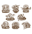 wild west american western icons vector image vector image