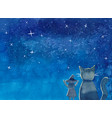 witch and cat under blue galaxy night sky vector image
