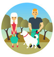 man and woman met in a park while walking out dogs vector image