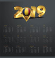 2019 calendar template chad country map golden vector image vector image