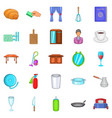 boarding house icons set cartoon style vector image vector image