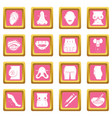 body parts icons set pink square vector image vector image