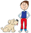 boy with cute dog cartoon vector image vector image