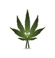 cartoon character - a leaf of hemp live marijuana vector image