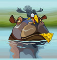 cartoon crow hunting for cheese sitting on the vector image
