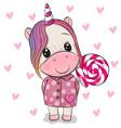 cartoon unicorn in coat and with lollipop vector image vector image
