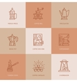 Coffee making equipment brewing methods thin line vector image