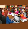college students studying in a library vector image