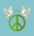 color poster pair pigeons with olive branch in vector image vector image