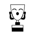 contour kawaii cute funny prize cup vector image vector image