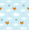 cute cartoon pattern with fox and dots in clouds vector image vector image
