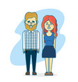 cute couple with hairsty design and clothes vector image