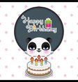 Cute panda birthday card vector image