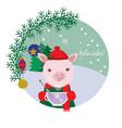 cute pig in a cap drinking tea winter card vector image