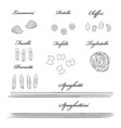 different types of authentic italian pasta hand vector image vector image