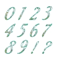 Doodle numbers with abstract floral pattern vector image vector image