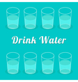 Drink more water Glasses set Infographic Flat desi vector image vector image