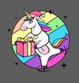 fantasy skating unicorn with christmas present vector image vector image