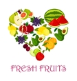 Fresh fruits symbol in shape of heart icon vector image vector image