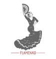 girl dancing flamenko in graphic hand-drawn style vector image vector image