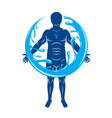 graphic of strong male body silhouette surrounded vector image