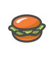 hamburger fast food burger cartoon vector image