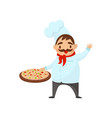 happy italian chef holding pizza and waving by vector image