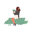 happy rich woman sitting on stack money