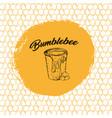 honey bee sketch logo design with honeycomb vector image vector image