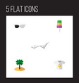 icon flat season set of t-shirt sunglasses vector image