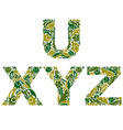 letters decorated with seasonal leaves U X Y Z vector image